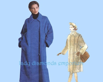 Vogue Attitudes 1433 Jennifer George Unlined A-line Coat Womens size 6 8 10 12 14 16 18 20 22 Bust 30 to 44 Vintage Sewing Pattern Uncut FF