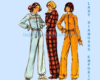 Butterick 4408 Womens Footed Pajamas 1-Piece Zip-Up Dropped Seat Longjohns Adult Footies size 12 Bust 34 Vintage 70s Sewing Pattern Uncut FF