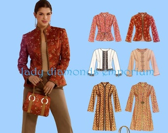 9f1f05ee Oriental Style Long Sleeve Jackets Tops in 3 Lengths + Purse Womens size 10  12 14 16 18 20 22 Sewing Pattern New Look 6610 Uncut FF