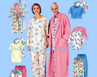McCalls 3370 Womens Robe Pullover Tunic Top Pull-on Pants Shorts Pajamas  Bathrobe XS S M size 4 6 8 10 12 14 Sewing Pattern Uncut FF 411ec2a5d