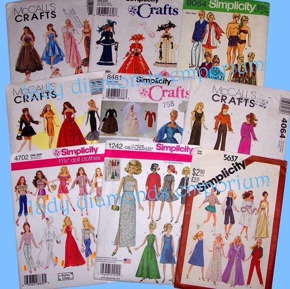 Wahl von 11 1/2 Mode Puppenkleidung Nähen Muster | Etsy