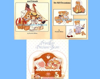 Your Choice! Cherished Teddies for All Occasions, Cherished Teddies & Friends, Priscillas Precious Bears Cross Stitch Books Gloria and Pat