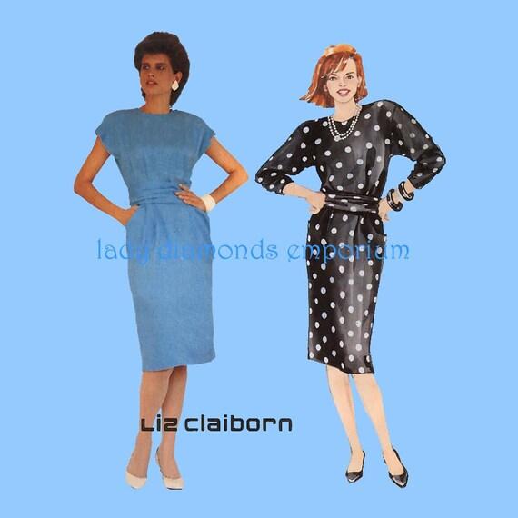 Mccalls 2938 Liz Claiborne Dress Jewel Neck Tapered Skirt Etsy
