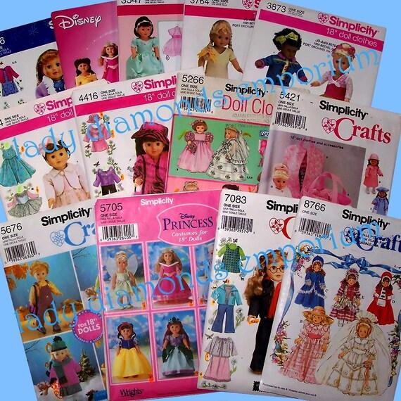 Wahl der 14 Einfachheit 18 Puppenkleidung Nähen Muster | Etsy