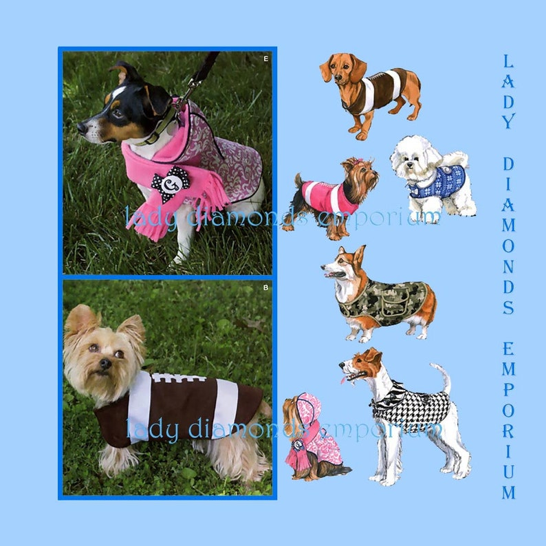 a32a895fd2f Simplicity 1239 Dog Clothes Sewing Pattern Dog Coats in 5