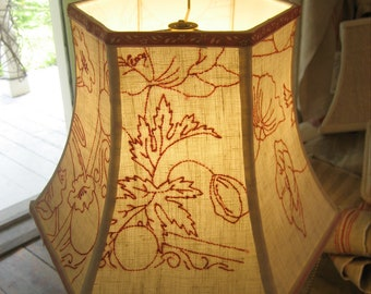 Lamp Shade with Antique Redwork Embroidery