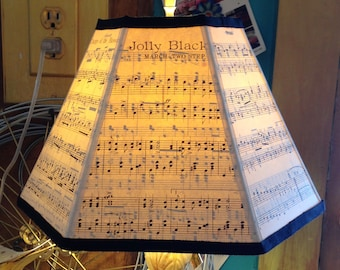 Music Lamp Shade, Paper Lampshade Handmade with Vintage Sheet Music, Good for a Piano Lamp, Music Room Decor, Student Desk Lampshade