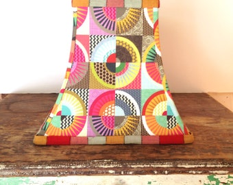 Quilt fabric lampshade, Funky lamp shade, Boho Geometric Motif, Mod Decor, Square bell, Lots of bright colors!