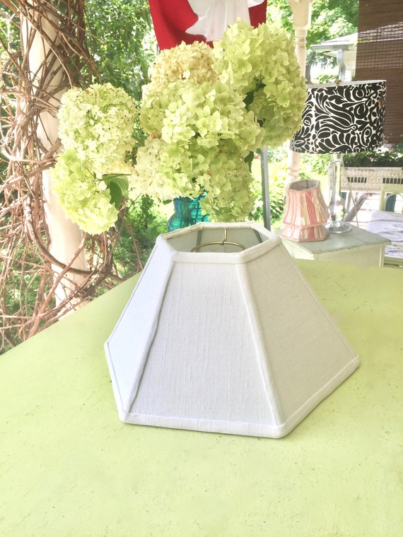 Natural Homespun Hurricane Lamp Shade, Vintage Linen Fabric Lampshade to Fit over glass chimney