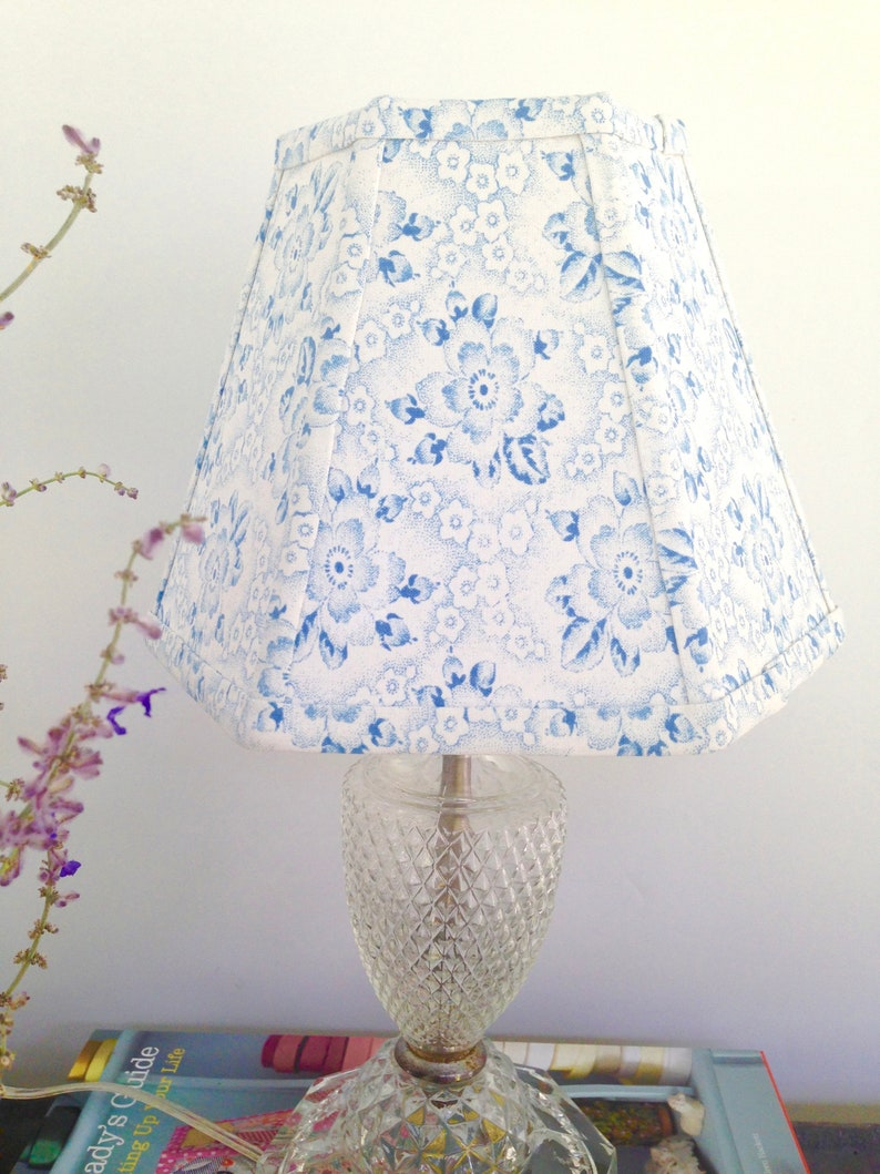 4d573b8956d Blue Floral Lamp Shade Small Clip Lampshade Vintage Cottage