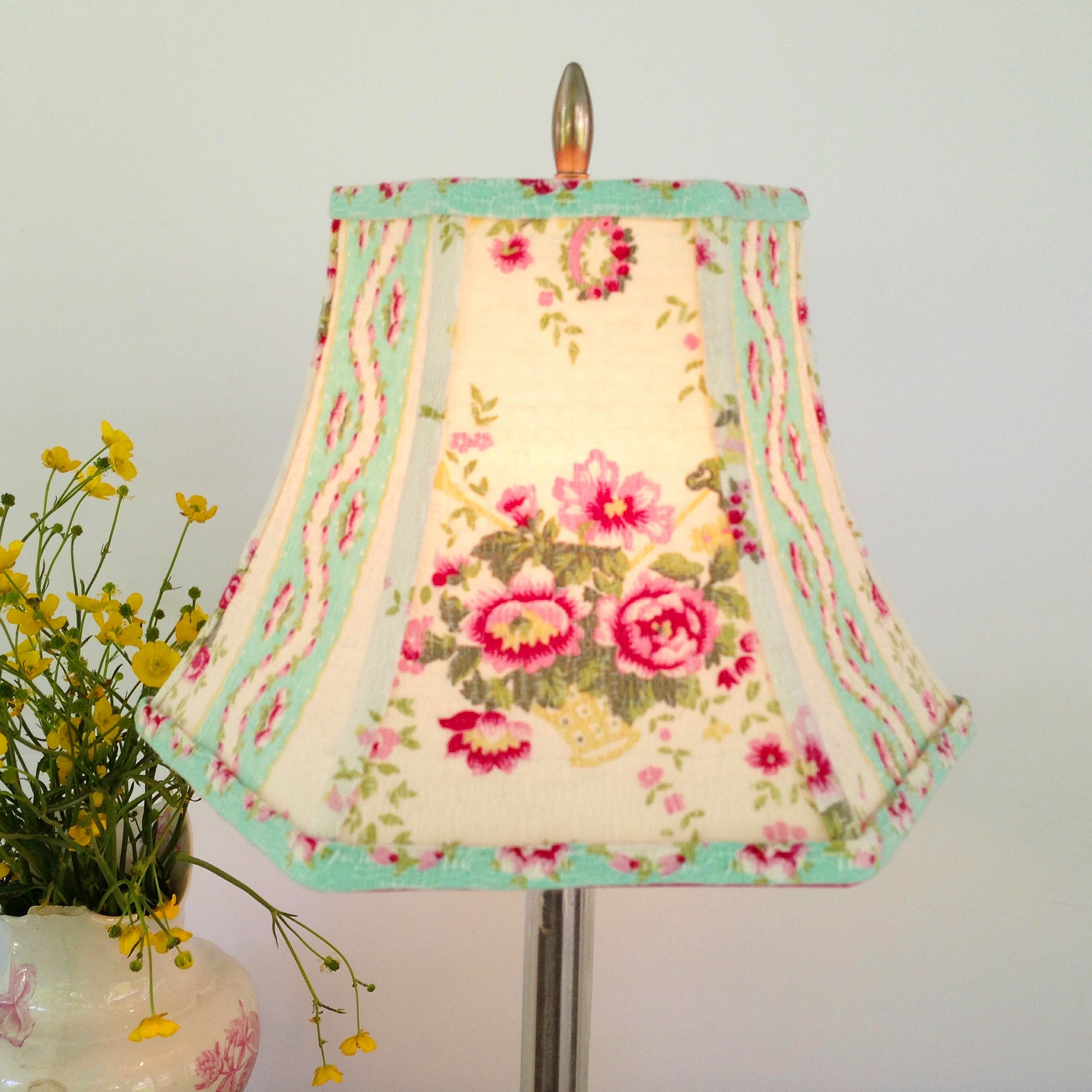 French Bark Cloth Lamp Shade In Vintage Turquoise And Pink Etsy