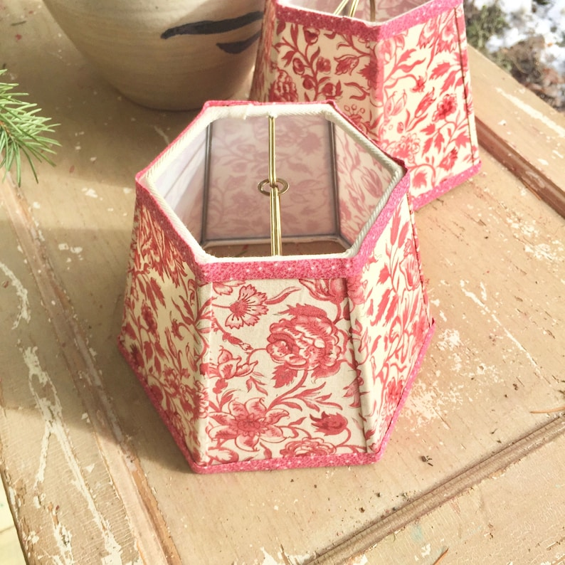 Small Fabric Lampshade  Red and Off White Floral Lamp Shade  image 0