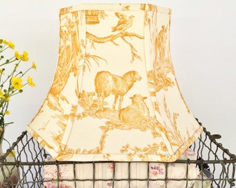 Pierre Deux Mustard Bridge Lampshade for a Standing Floor Lamp, Toile lampshade, Threads onto Lamp Socket - Uno Lampshade