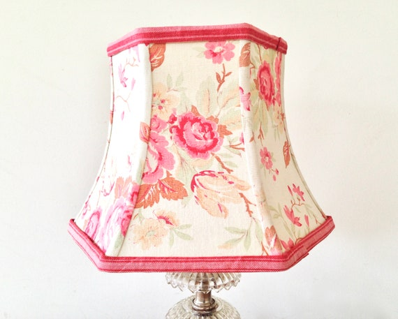French small lampshade vintage floral fabric lamp shade etsy image 0 aloadofball Image collections