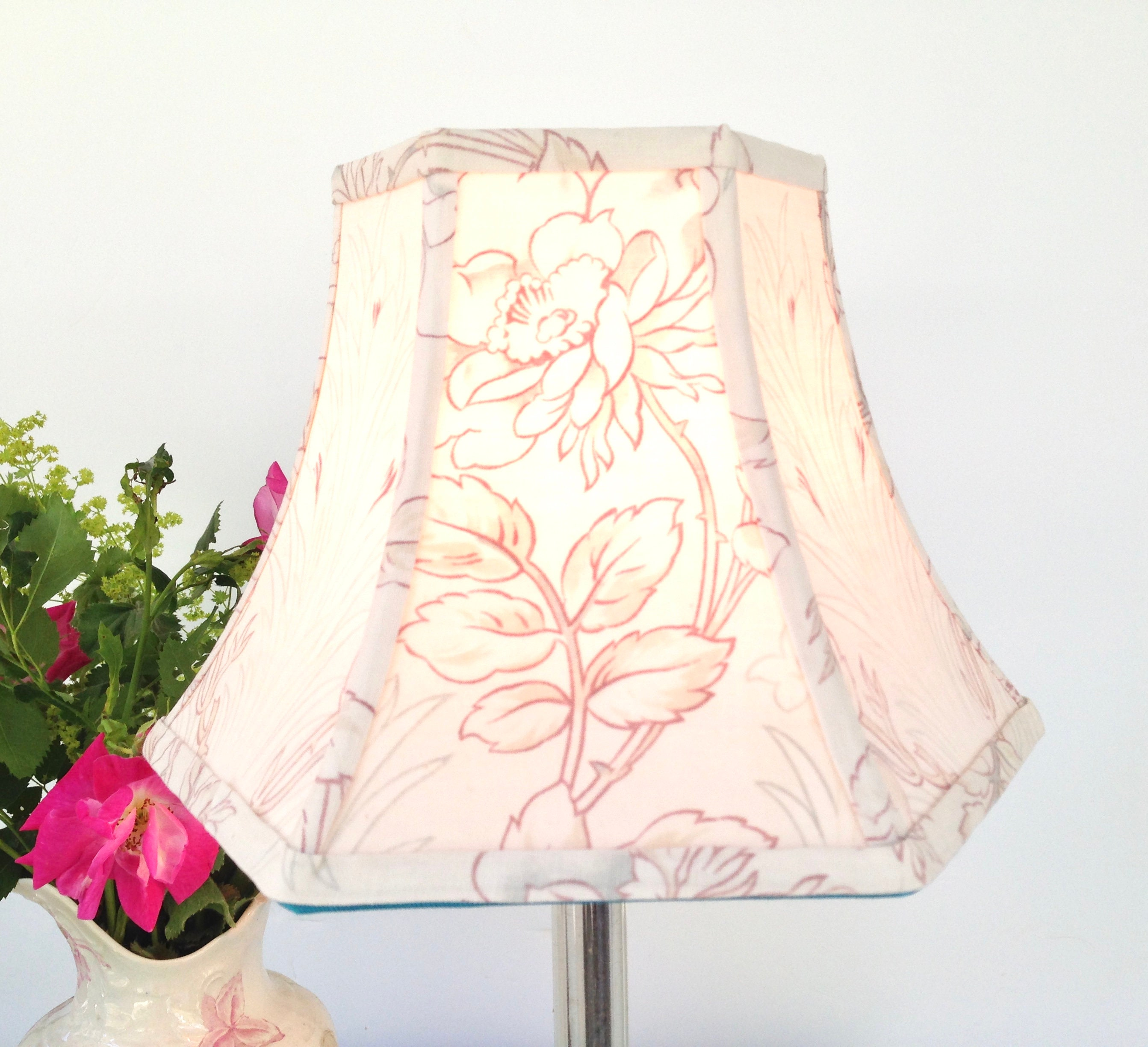 On Sale Gray And Cranberry Floral Lamp Shade In Art Nouveau Etsy