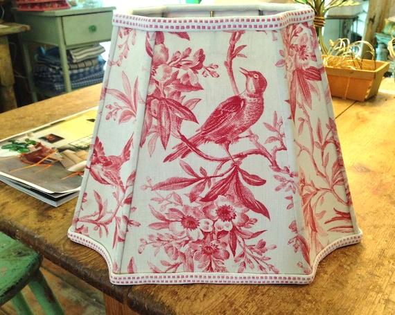 Antique red toile lamp shade rare bird fabric lampshade aloadofball Choice Image
