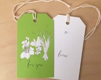 vegetable drawing - set of 6 mini gift tags - Rachelink hand drawn cards