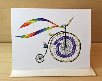 Unicorn BIke Birthday Card