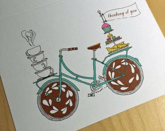 Coffee shop BIke Card - thinking of you