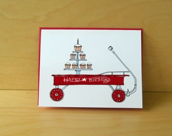Red Wagon Birthday Card