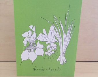 Thanks a bunch - set of 8  thank you cards - vegetable drawing