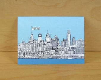 Philadelphia Skyline Thank You Cards - set of 8 cards