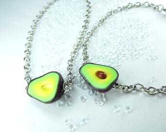Friendship Bracelet, Avocado bracelet, best friend bracelet, vegan friendship jewelry, minimalist food jewelry, BFF gifts, best friend gift