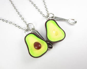 Best Friend, best friend gift, best friend necklace Friendship Necklace Food jewelry, avocado necklace, vegan gift jewelry, sister gift, BFF