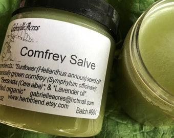 Comfrey Salve - Organically Grown Comfrey  -  Natural Healing - Organic Ingredients - Comfrey Balm - Herbal Balm