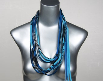 Blue Necklace, Blue Skinny Scarf, Colorful Necklace, Colorful Jewelry, Textile Jewelry, Textile Necklace, Boho Scarf, Bohemian Scarf