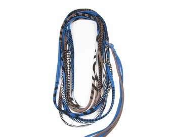 Colorful Necklace, Colorful Jewelry, Textile Necklace, Textile Jewelry, Boho Scarf, Bohemian Scarf, Blue Necklace, Blue Skinny Scarf