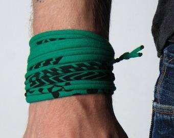 Wrap Bracelet, Green Bracelet, Boyfriend Gift, Gift for Men, Festival Clothing, Mens Bracelet, Mens Gift, Husband Gift, Gift for Boyfriend