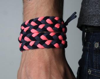 Braided Bracelet, Pink Bracelet, Wrap Bracelet, Boyfriend Gift, Gift for Men, Festival Clothing, Mens Bracelet, Mens Gift, Husband Gift