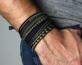 Personalized men's bracelet man burning men  birthday gift personalize jewelry cuff bracelet mens wrap, bead option