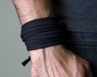 Black Bracelet, Wrap Bracelet, Boyfriend Gift, Gift for Men, Festival Clothing, Mens Bracelet, Mens Gift, Gift for Husband, Husband Gift