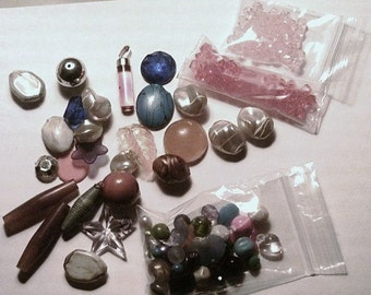 Destash Plastic Beads and Embellishments Lot Jewelry Making Crafting