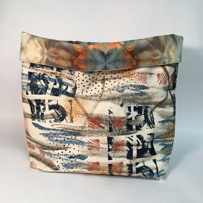 Textile Tote  Hand Painted and Hand Dyed Fabric Basket  image 0
