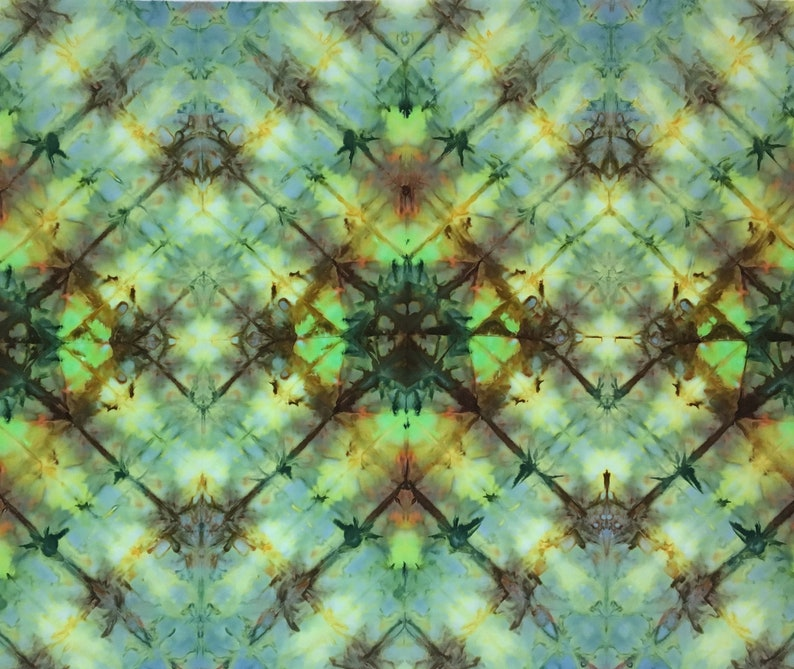 Ice Dyed Fabric  Citrine Crystals  Beautiful Art Fabric for image 0