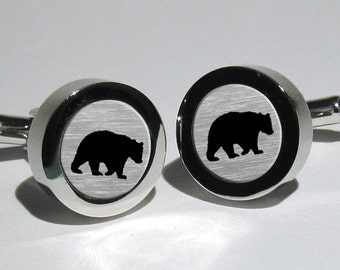 Bear Cufflinks,Grizzly Bear,Polar Bear,Bear Hunter,Wildlife Cufflinks,Hunters Cufflinks,Animal lovers gift,Hunters gift
