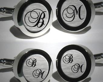 Mens Personalised Initial Cufflinks - Ideas for Groomsmen Gifts - Mens Personalized Wedding Cufflinks - Valentine's Gift - Font Brock Script