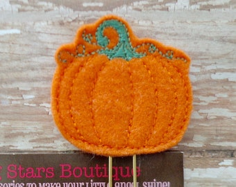Fall Planner Clips, Orange Felt Pumpkin On A GOLD Paperclip Or Bookmark, Fall/Autumn, Thanksgiving Bookmarks, Journaling Paperclips
