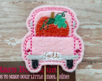 Pink Truck With Orange Pumpkins Planner Clip On A GOLD Paperclip, Fall Paperclips, Vintage Pickup Truck With Pumpkin, Holiday Planner Clips