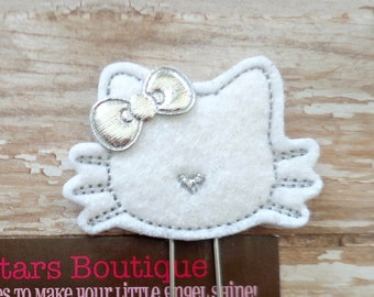 Paperclips, Silver And White Christmas Cat Felt Paper Clip Or Bookmark, Holiday Reading Accessories For Girls, Journaling Supplies, Cats