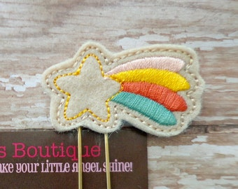 Rainbow Planner Clips, Fall Shooting Star Felt Paper Clip/Bookmark ON A GOLD PAPERCLIP, Thanksgiving Paperclip, Autumn Gift For Book Lover