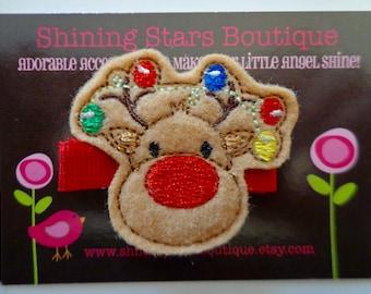 Felt Hair Clip - Hair Accessories - Light Brown Christmas Rudolph Reindeer With Lighted Rainbow Antlers Felt Embroidered Hair Clippie