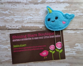Felt Paperclip - Turquoise, Yellow, And Hot Pink Narwhal Paper Clip Or Bookmark - Ocean Accessory For Planners, Calendars, Or Book