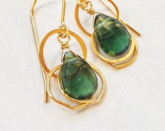 Green Quartz Drops with Gold Rings, 14 k gold fill, small