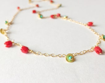 Turquoise and Coral Rosebud Necklace / 22 inch, chain, gold fill, 14 karat, turquoise , coral, summer, vacation, bridesmaid.