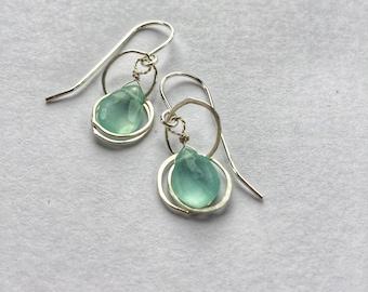 Chalcedony Drop Earrings Silver