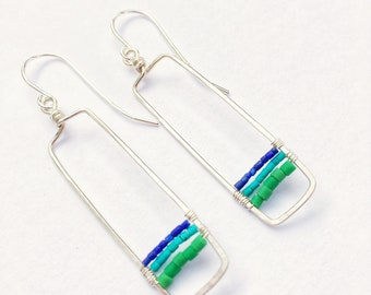 Short Silver Turquoise/Green Rectangle Earrings / lightweight/everyday/sterling silver